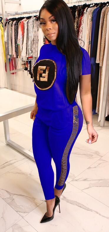 2019s F mulheres correr terno de manga curta 2 peças conjunto de treino t-shirt leggings outfits esportes sportswear pant pullover outfits