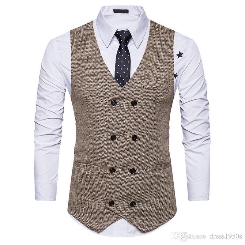 Nuevo chaleco de negocios de los hombres de la vendimia sólido Slim Fit ChalecosWaquetas Casual de doble botonadura Chaleco sin mangas para hombre chaleco formal