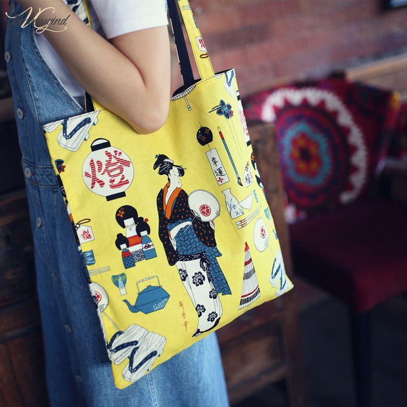 Handmade Japanese Style Canvas Hasp Bag Geisha Pattern Canvas Bag Yellow Tote Bag Daily Shopping