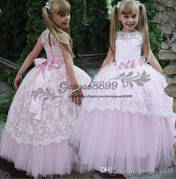 Compre 2019 Barato Vestidos Bonitos Para Niñas De Flores Con Fruncidos Con Gradas Vestidos De Niña Hinchada Para La Boda Vestidos De Fiesta Vestidos