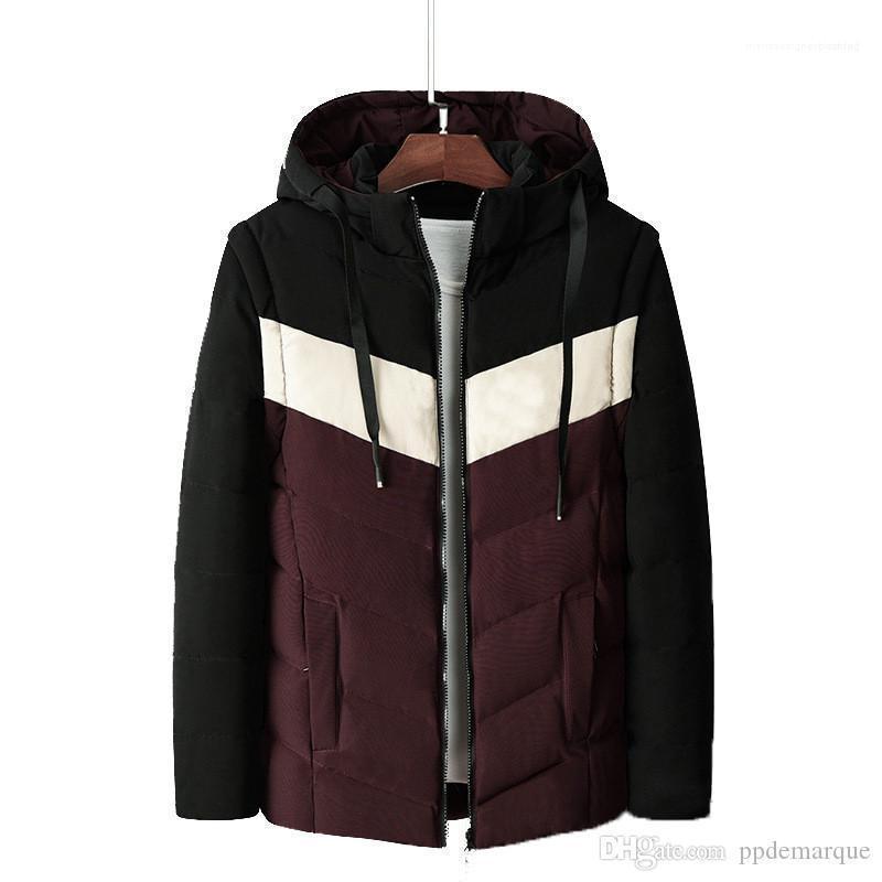 Striped Printed Männlich Kleidung Winter-Männer beschichtet unten starke lange Hülsen-mit Kapuze Männer Oberbekleidung Mode lose