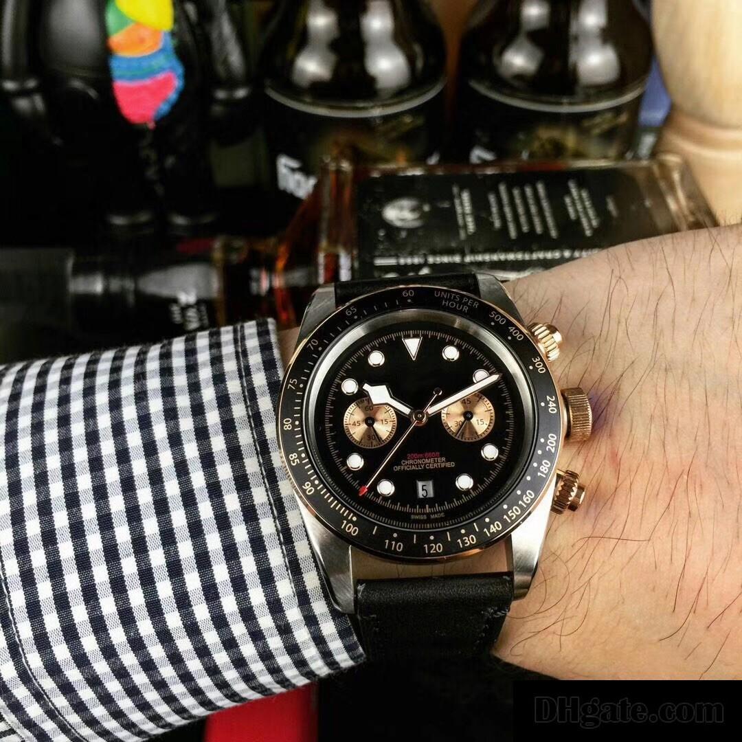 Montres-bracelets de montres de luxe en cuir noir Mouvement automatique en ligne Aciers inoxydable Bracelet 81933 Mens Watch Montres Livraison gratuite