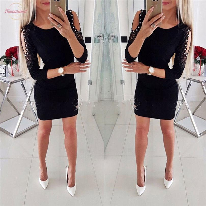 New Fashion Sexy Women Bandage Mini Dress Hollow Out Lace Sleeve Female Summer Sexy Dress Evening Party Summer Club Wear