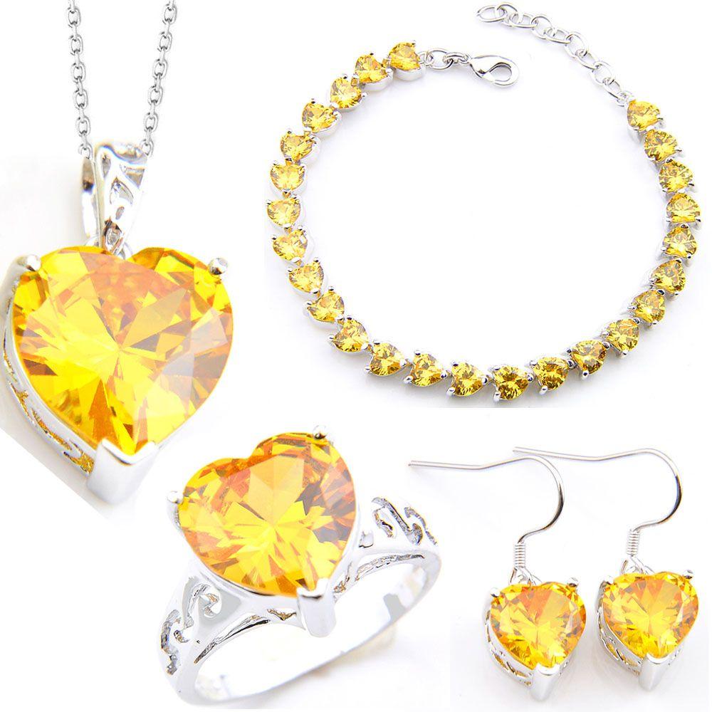 LuckyShine 4 pièces / Set Bride Ensemble de bijoux boucles d'oreilles pendentifs anneaux Bracelet argent 925 plaqué cristal Zircon mariage de coeur Bijoux