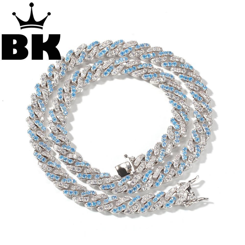 DIE BLINGKING 9mm Micro Pave Iced CZ Cuban Link Halsketten Ketten nehmen Gewohnheit Farbe LUXUXBLING Schmuck Mode Hiphop für Männer