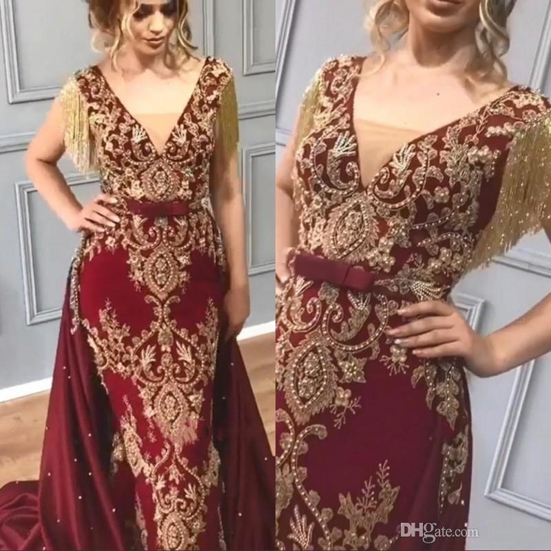 Abiti da sera arabi rosso scuro con appliques in oro con nappine e paillettes con perline sirena 2010 staccabile treno abiti da sera da ballo per donna