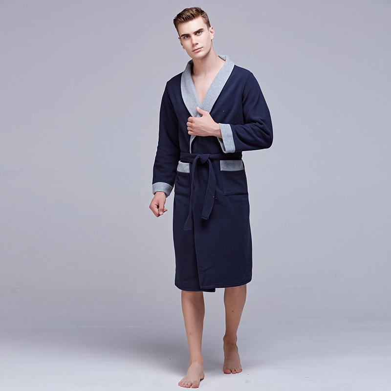 a4ad1505a44 Simple Design Male Bath Robe Hotel Spa Long-sleeve Bathrobe Sleepwear  Pajamas For Men Kimono Nightwear Homme Night Dressing Gown