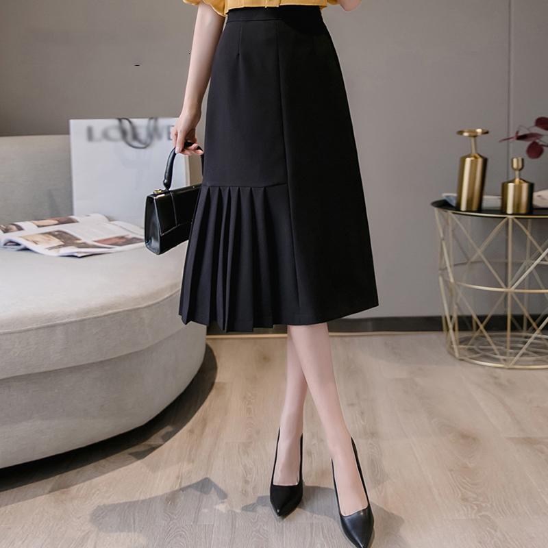 Damen Rock mit hoher Hüfte 2020 Summer Long Plissee Midiröcke Frauen-elegante Solid Color Büroarbeitskleidung unregelmäßige schwarze Röcke
