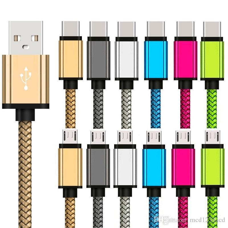 سريع شحن النسيج كابلات USB 1M 2M 3M نوع C Micro USB شاحن بيانات كابل سلك لسامسونج S6 S7 حافة S8 ملاحظة 7 8 HTC