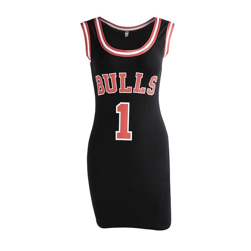 Ladies Summer Dress Women Cute Bodycon Bulls Sporting Jersey Above Knee Length O-neck Tunic Dresses Gigi Hadid Style Vestidos Y190514