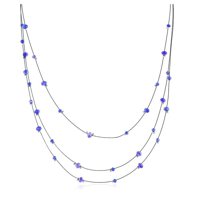 Collar con cuentas de vidrio retro Collar de alambre de oro étnico con cadena de múltiples capas