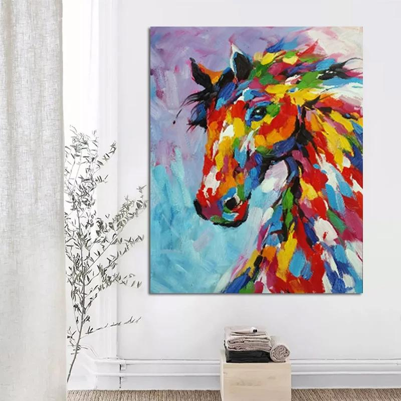 Modern Abstract Colorful Horse Art Oil Painting On The Wall Canvas Decor For Living Room Baby Room Home Poster Unframed