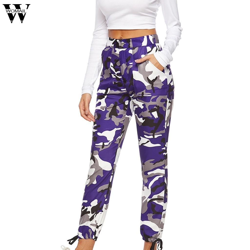 Womail High Waist Jeans Women's Mom Camouflage Trousers Button Loose Casual Cotton Cargo Pants Camouflage Sports Jeans 2019