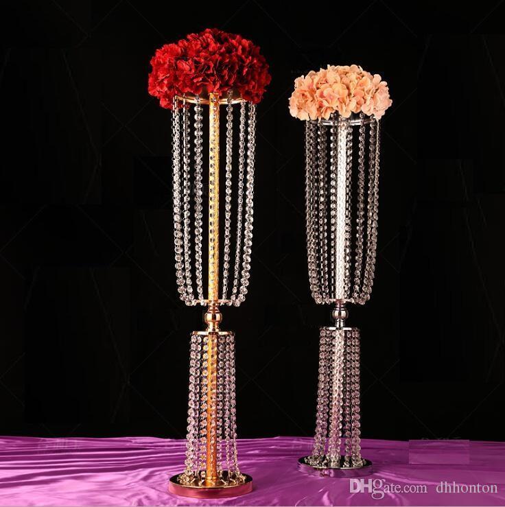 Altın Gümüş Akrilik Kristal Düğün Çiçek Top Tutucu Masa Centerpiece Vazo Kristal Şamdan Düğün Dekorasyon Standı