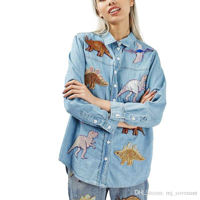 Les femmes mignonnes patch de dinosaure chemises en jean bleu à manches longues col rabattu blouse lâche femme printemps automne tops blusas LT1228