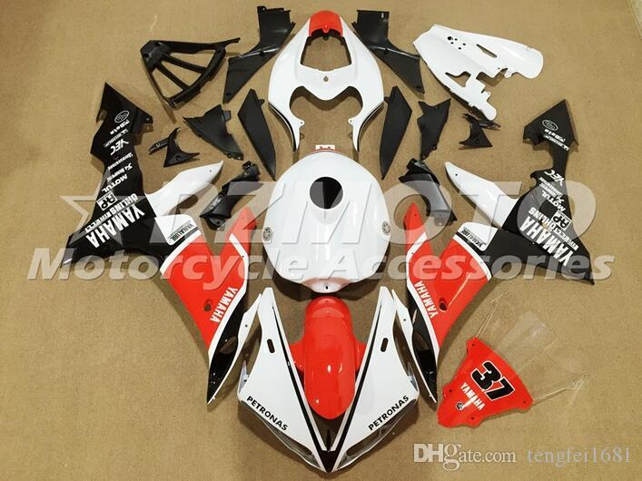 Qualità OEM nuovo ABS completa carenatura kit di misura per YAMAHA YZF R1 04 05 06 YZF1000 2004 2005 2006 R1 Carrozzeria set personalizzato Bianco Rosso fresco
