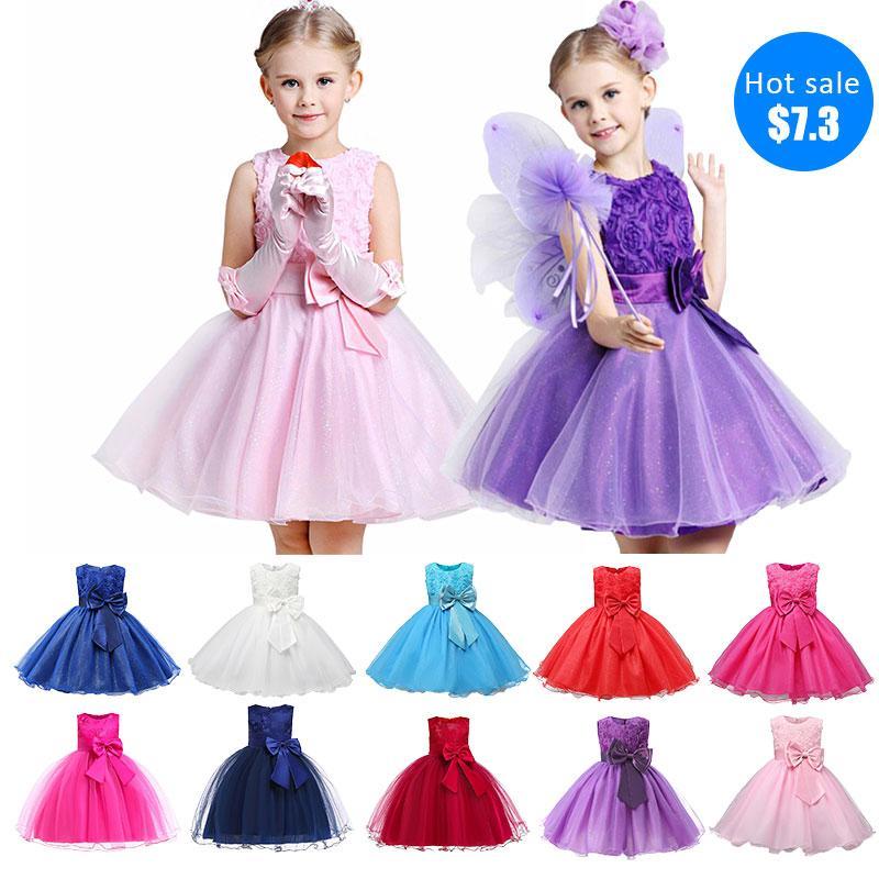2019 fleurs européennes et américaines filles robes enfants arc printemps et à l'automne pendentif été robe de soirée d'accueil de performance