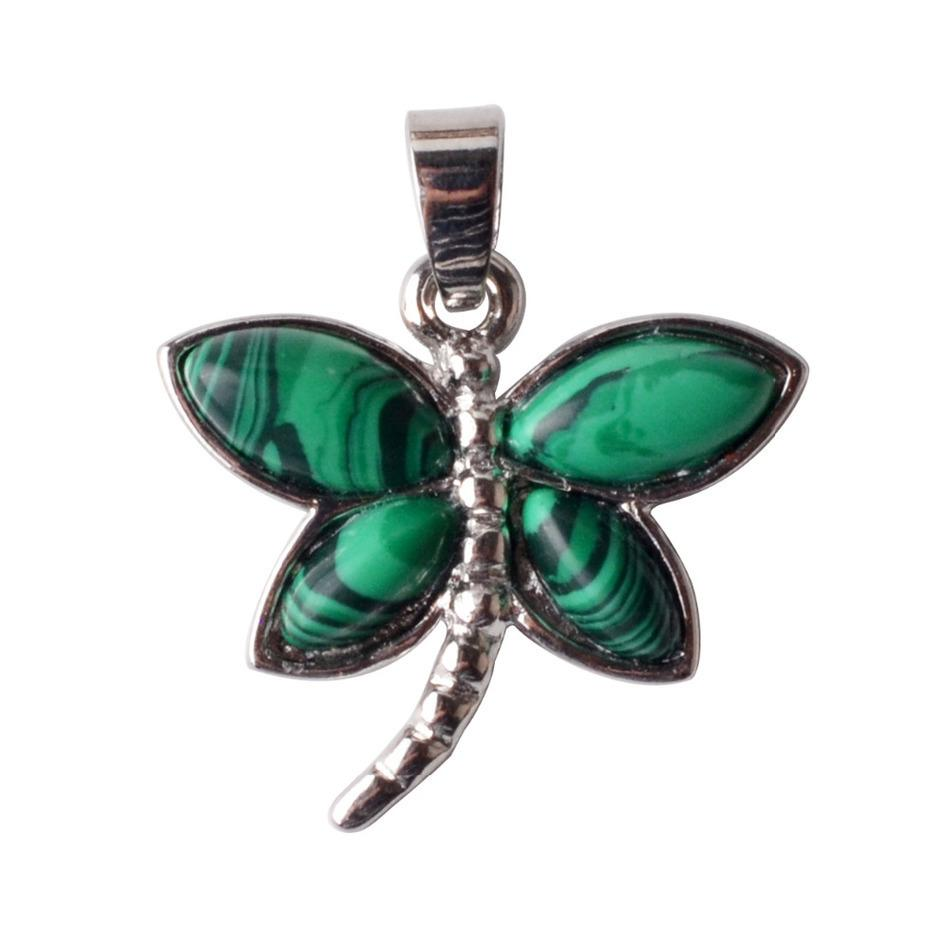 New Arrivals Red stone Fashion women Dragonfly Crystal natural stone Pendants Necklaces charms Jewelry Christmas cartoon image