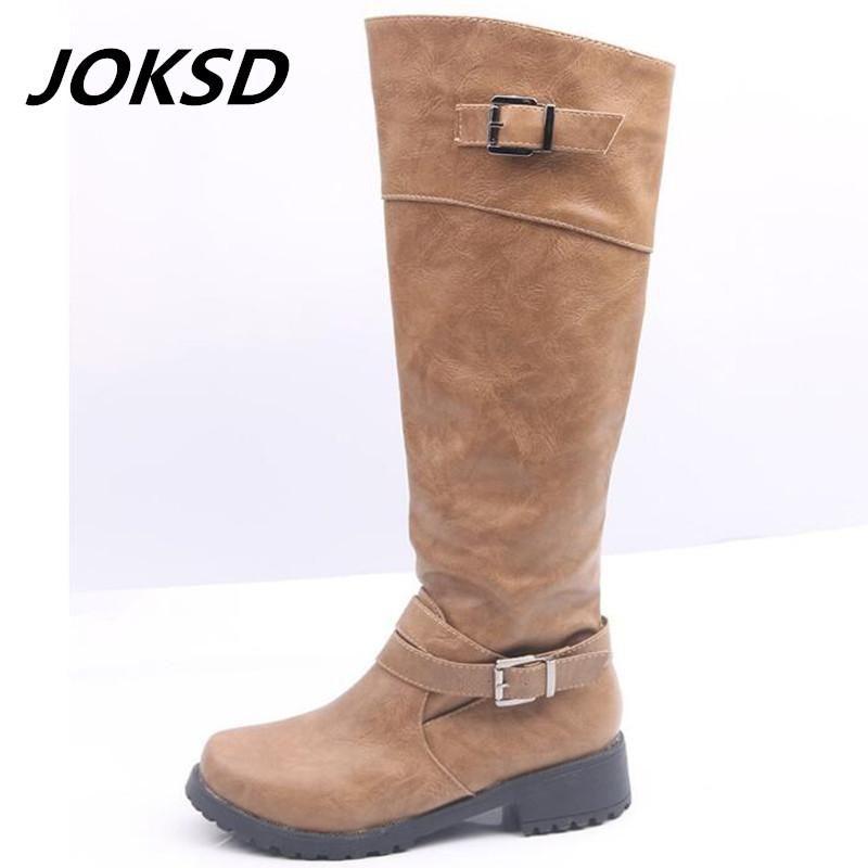 JOKSD 크기 (43) 패션 겨울 여성 여성 승마 부츠 빈티지 전투 펑크 무릎 높은 신발 여성 정품 가죽 부츠 (164)