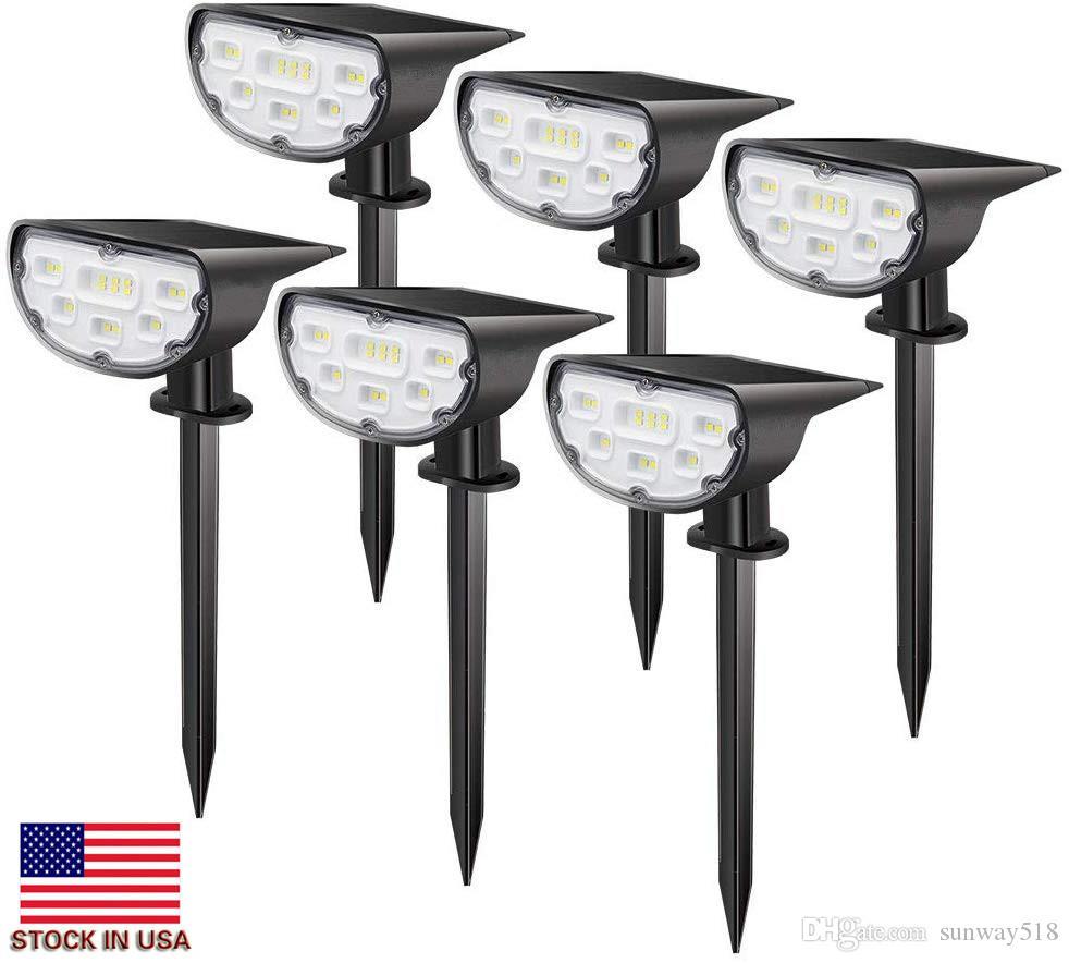 14 LED-Solarlandschafts Scheinwerfer Außenbeleuchtung Spot Lights Solarbetriebene Hellweiß Dusk to Dawn 2-in-1 Landschaftsbau Wall Garden