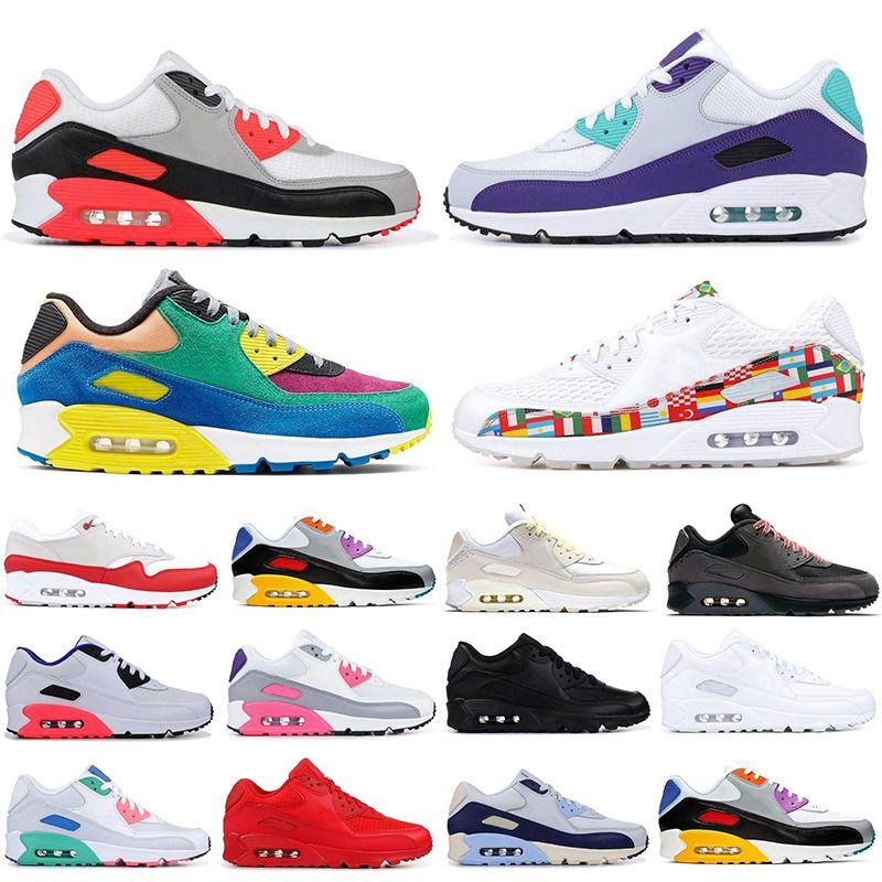 أعلى 90S الجودة الاحذية أحذية الهواء الرياضية الرجال النساء 90S السببية أحذية الأبيض الأشعة تحت الحمراء ساوث بيتش الثلاثي الأسود في الهواء الطلق أحذية رياضية