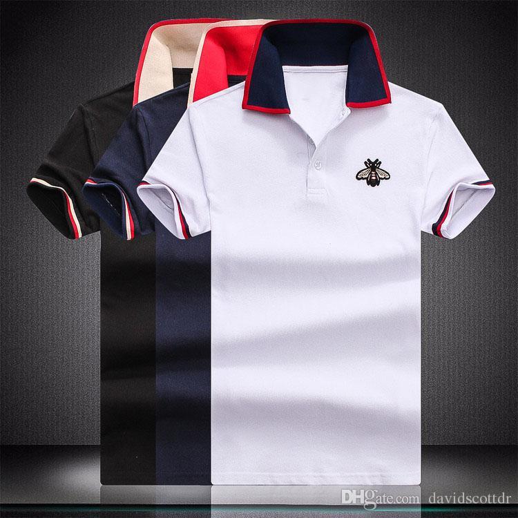 Lüks tasarımcı moda klasik erkek arı çizgili nakış gömlek pamuk erkek tasarımcı T-shirt beyaz siyah tasarımcı polo gömlek erkek M-4XL