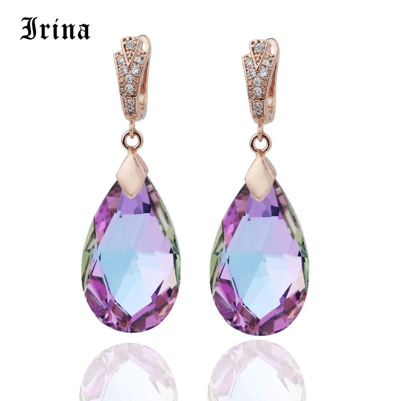 New Long Earring For Women Fashion Party Jewelry 585 Rose Gold Color Water Drop Natural Zircon Earrings Fashion Jewelry C19041101