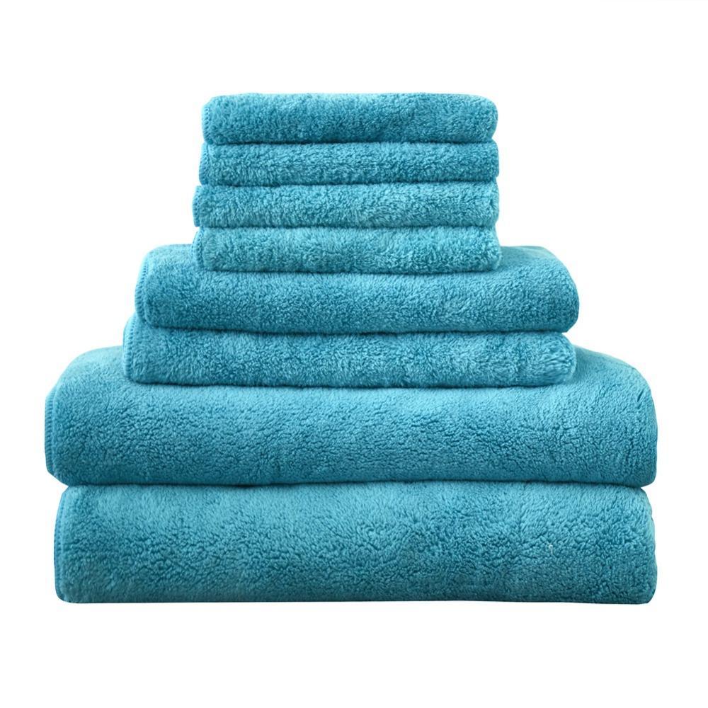 Comfortable Soft Towel set Solid Color Hand/Face/Hair/Bath Towels Machine Washable Standard Size 8pcs /lot Quick-Dry Towels