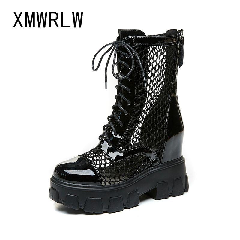 Pelle XMWRLW Stivali Donna Split scarpe di moda scava fuori metà polpaccio stivali per donna estate tacco nascosto scarpe da donna incunea estate