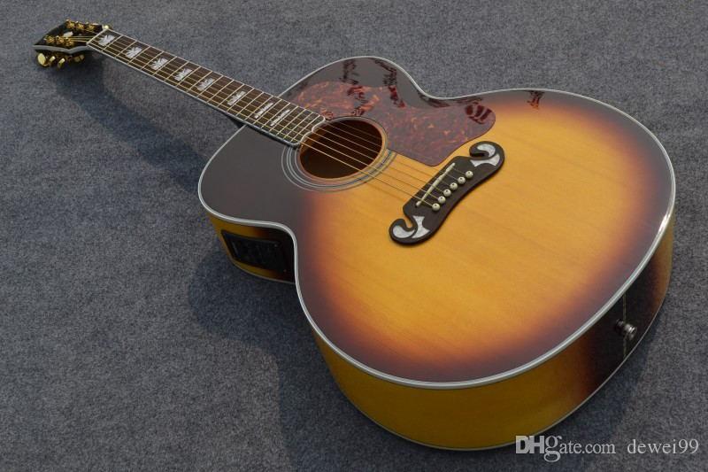 Starshine Akustik Gitar ZZF-J200N Jumbo 43 '' Katı Ladin Üst, Geri Alev Akçaağaç, Kemik Somun Grover Tuner Fishman 101