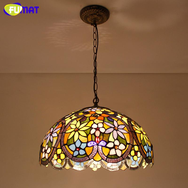 Fumat Stained Glass Light European Style Art Glass Shade Pendant Lights Living Room Kitchen Lightings Warm White Pendant Lights Modern Hanging Light