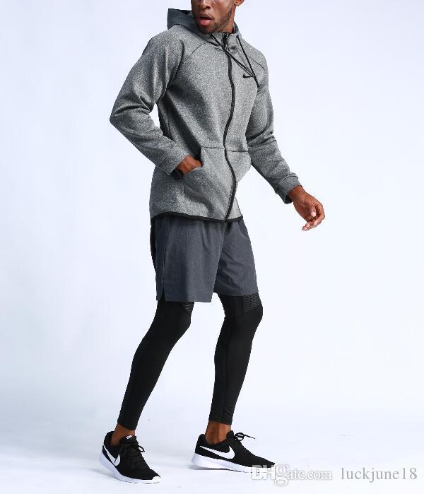 2019New Outdoor Running Jacket Treinamento de Basquete Men's Casual Sportswear de mangas compridas com capuz de secagem rápida de fitness jaqueta dos homens