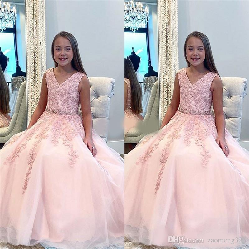 Cordón Apliques desfile de vestidos de cuello en V de elegante rosa de la muchacha sin mangas A-Line muchachas de flor se viste barato niños Prom Vestidos Vestidos 2020