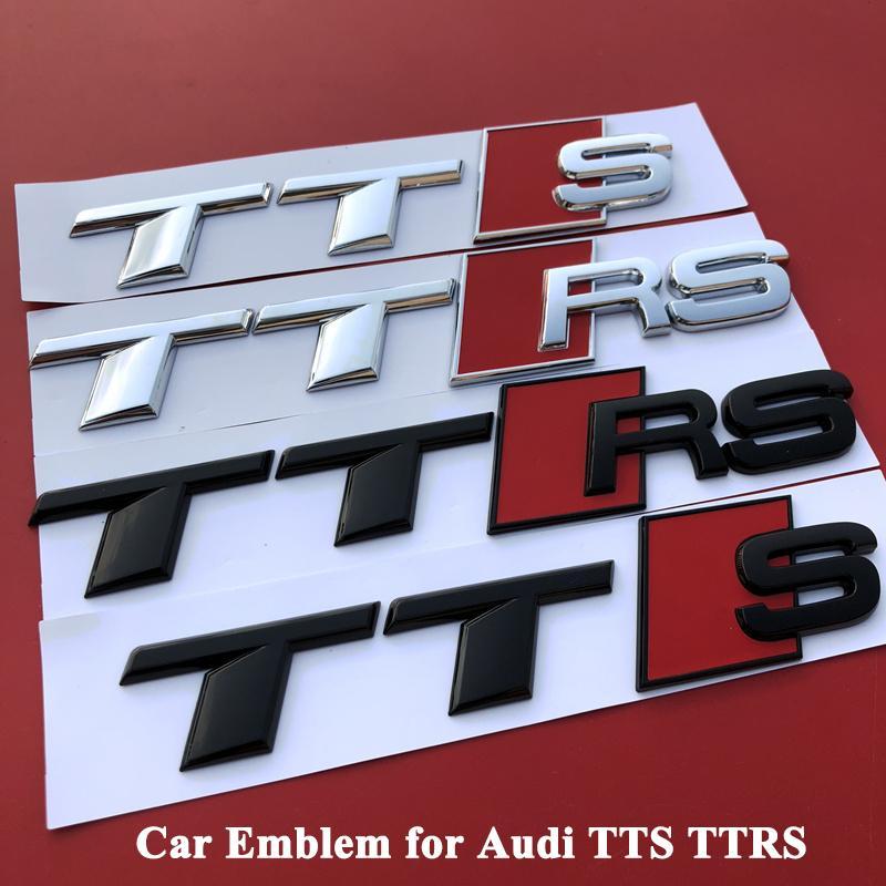 Audi TT TTS TTRS için 1 adet Parlak Parlak Siyah Gümüş ABS araba amblemi Modeli Logo rozeti Kuyruk Gövde Gövde Çıkartma Şekillendirici Aksesuarları