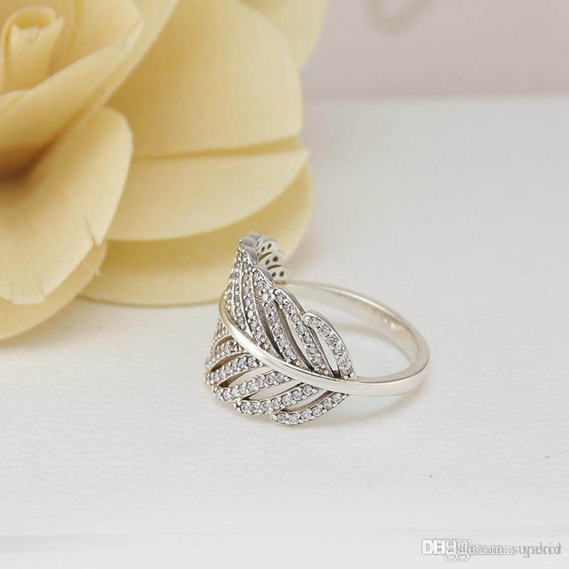 صندوق أصلي NEW 925 الفضة الريشة الزفاف RING LOGO لباندورا المشاركة مجوهرات خواتم الماس CZ كريستال للمرأة بنات