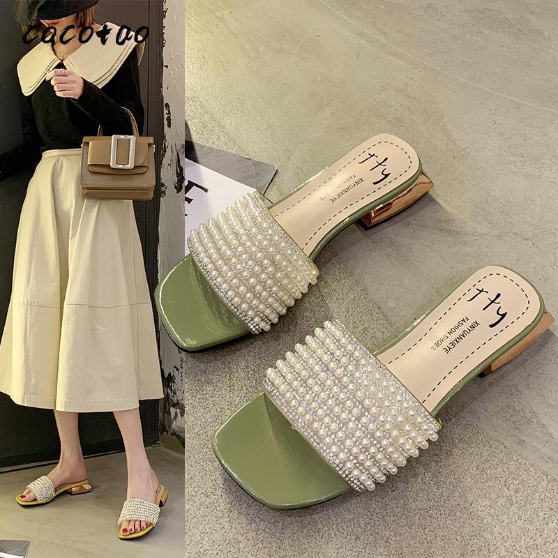 Ayakkabı Kadınlara Kalın Topuk Topuk Sandalet İnci Kelime Drag Kadın Moda Vahşi Kore Terlik Of 2020 Yeni Kore Sürüm