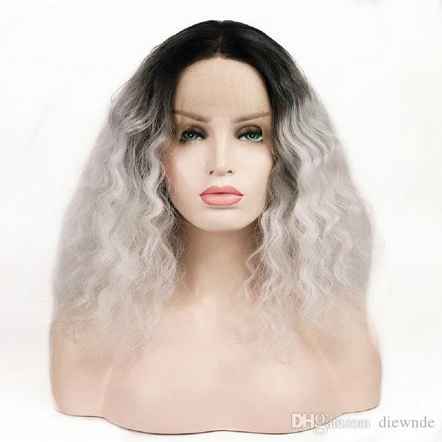 Мода короткие вьющиеся волнистые кружева фронт парик черные корни Ombre серый синтетические парики для женщин термостойкие волокна волос 150