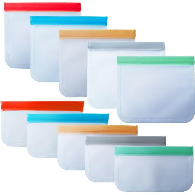 1pcs Reusable Food Storage Bags Preservation Freezer Bags Translucent Frosted PEVA Food Snack Bag Fresh-keeping Bag Organizers