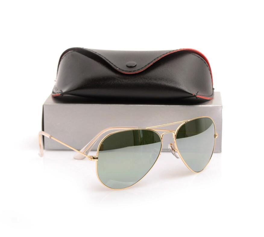 High Quality Brand sun glasses Glass Lens mirror sunglasses Fashion womens sunglasses Mens sunglasses pilot classic sun glasses glitter2009