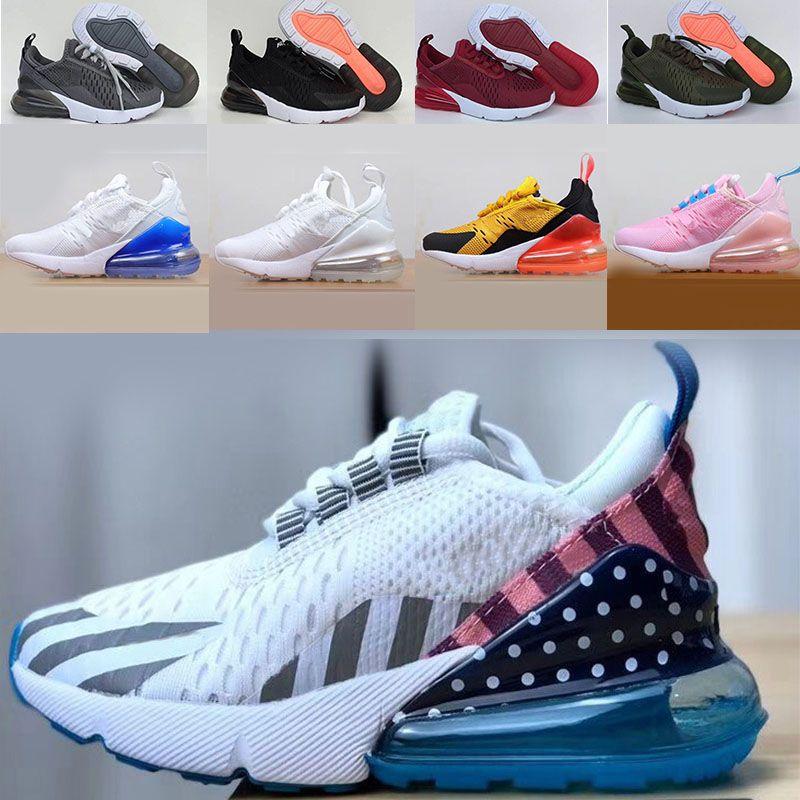 Nike air max 270 React Kid shoes 클래식 키즈 디자이너 신발 아동 27 초 농구 신발 앙팡을 붓고 소년 소녀 유아 CHAUSSURES 새로운 늑대 회색 유아 스포츠 운동화