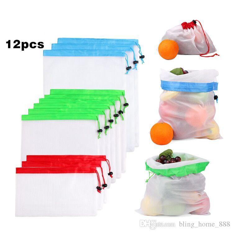 12pcs / set Mesh riutilizzabili i sacchetti Premium lavabile Eco-friendly Sacchetti per fare la spesa bagagli Frutta Verdure
