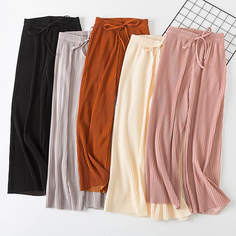 2018 neue PANT Frauen-Mädchen-Volltonfarbe plissierten breites Bein weibliche Sommer hohe Taille Chiffon- lange Studenten koreanische Art und Weise beiläufige Hosen T191003