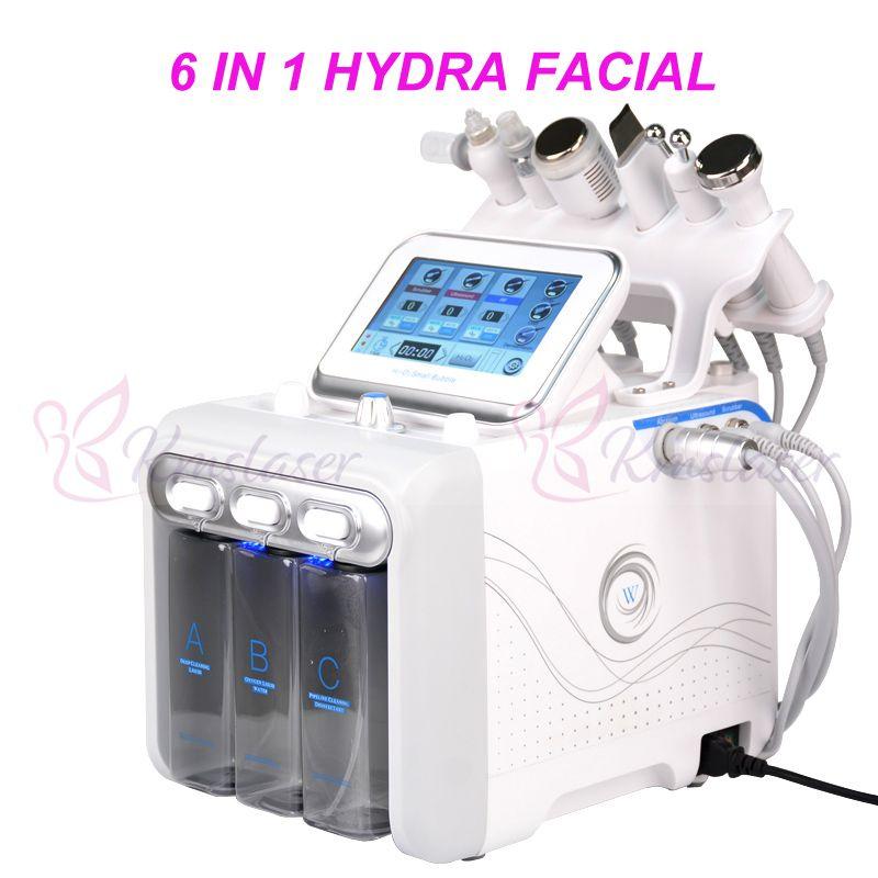 6 en 1 Oxígeno HydraFacial dermoabrasión máquina de chorro de agua Pelar Hydra depurador de la piel facial de elevación belleza de la cara de limpieza profunda de RF