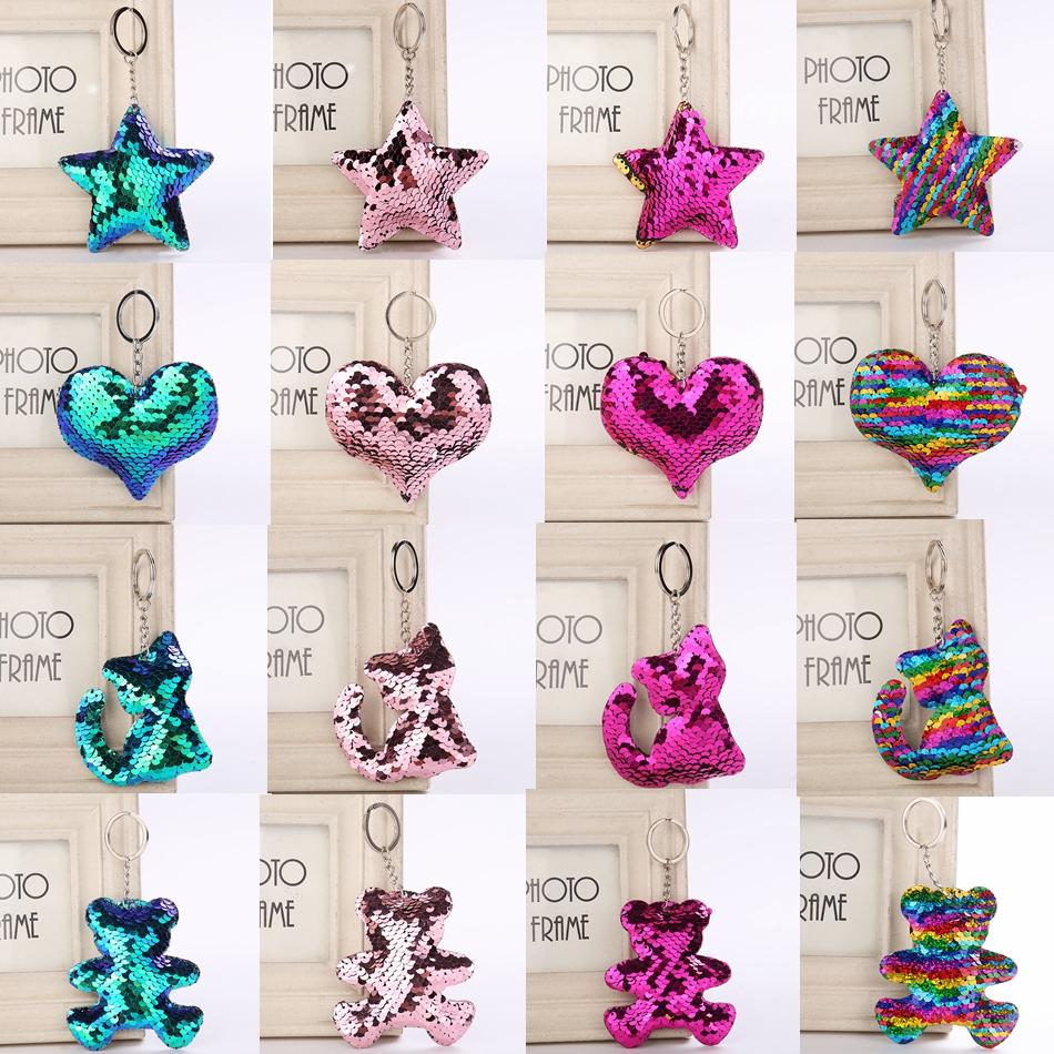 Cute Unicorn Keychain Glitter Pompom Mermaid Sequins Key Ring Gifts for Llaveros Mujer Charms Car Bag Key Chain Party Favor new GGA951