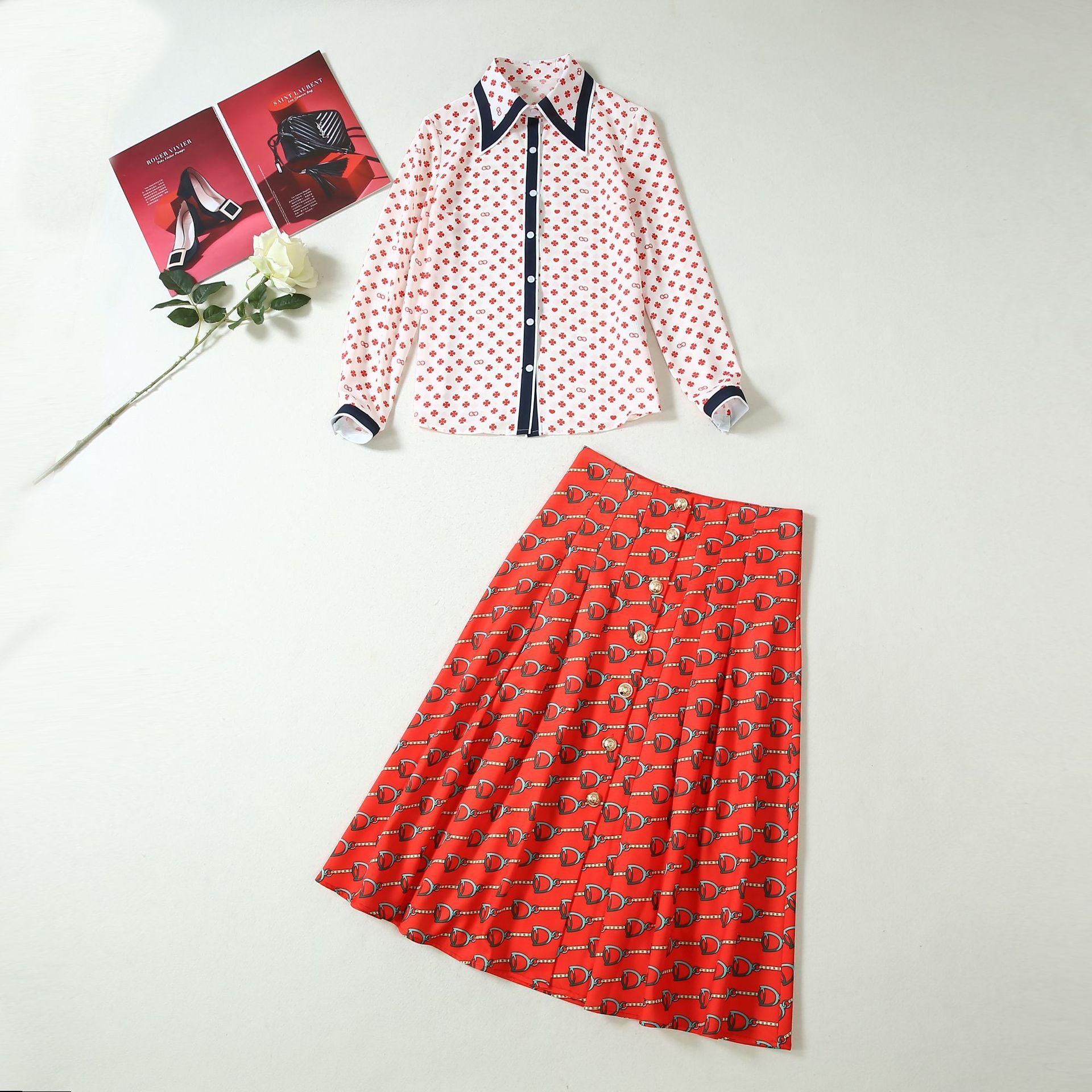 2019 Summer Fall Short Sleeve Turn-Down Collar Fashion Print Blouse + Mid-Calf Skirt Runway Two Piece 2 Pieces Set JL2419A2-7