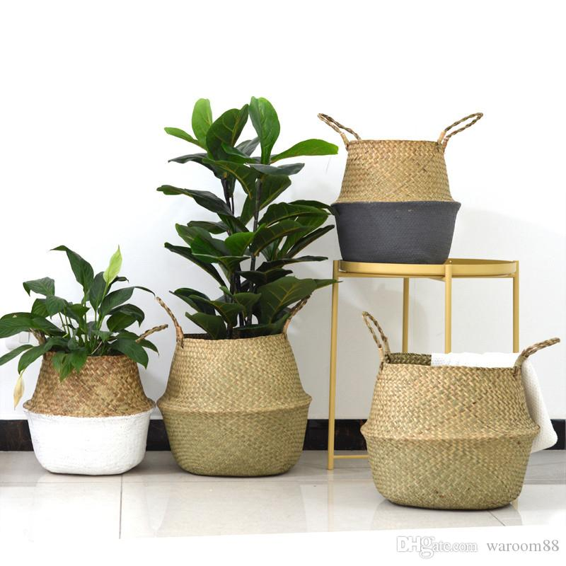 새로운 가정 수제 대나무 스토리지 바구니 접이식 세탁 밀짚 패치 워크 위커 등나무 씨 그래스 배꼽 정원 꽃 화분 파종기 바구니