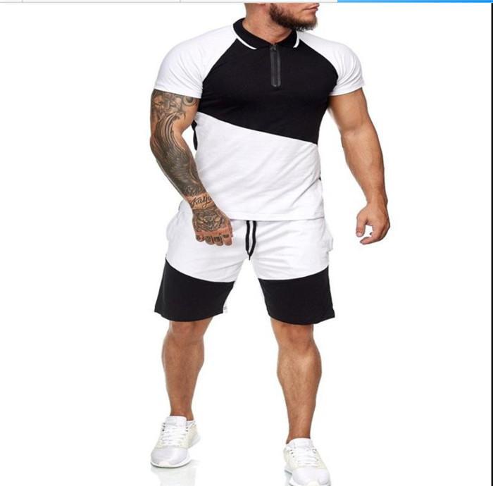 Kasetli Spor Giyimi Running Erkek Spor Tracksuits Kısa Kollu Mürettebat Boyun Tişörtü Casual Şort Male 2adet Giyim Setleri