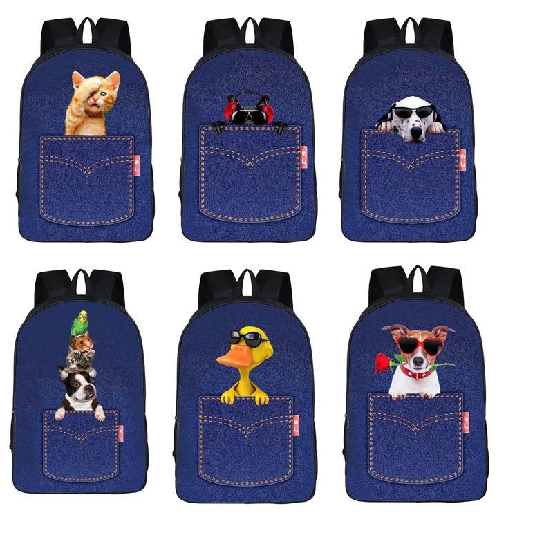 2020 Vintage Style Jeans Backpacks Bags Large Size School Bags Denim Travel Bags Kroean Style Bag