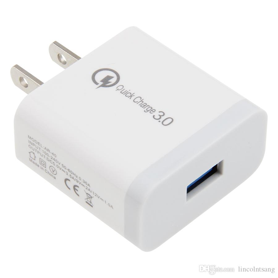 Qc 3.0 rápido rápido carregador de parede casa adaptador de energia de viagem 12 v 1.5a 9 v 2a para o telefone universal