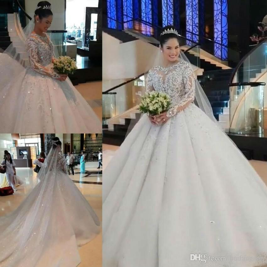 Modest Plus Size Wedding Dresses Arabic Long Sleeve Lace Applique Crystals Beaded Puffy Tulle Ball Gown Vintage Wedding Dress